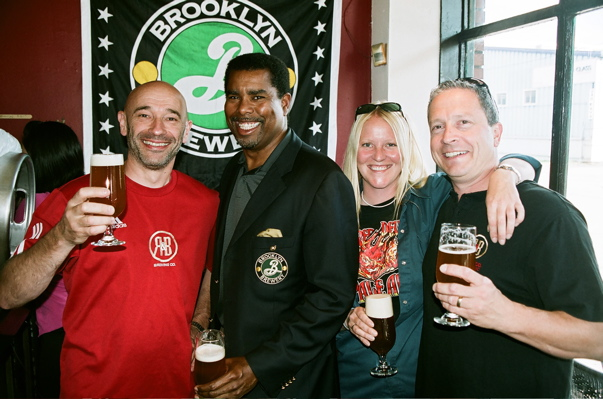 Brooklyn Brewing brewmaster, Garrett Oliver, with Rick, Aly, and Barry of R&B Brewing